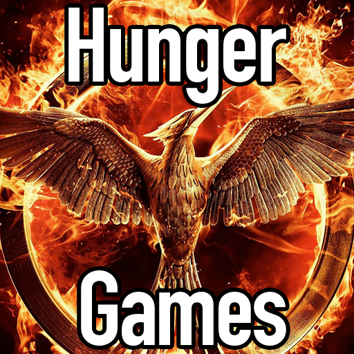 "The game icon for the Hunger Games. It's a flaming mocking jay with the text ""Hunger Games""."