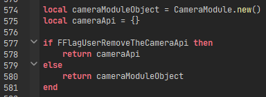 Lines of code from the CameraModule which limit developer access to the API